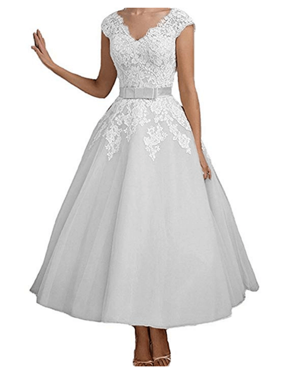 Vintage Short Wedding Dresses Tea Length Lace