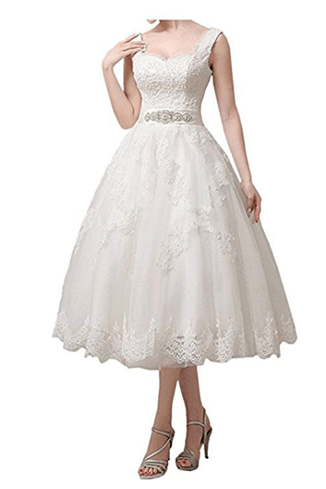 Vintage Short Tea Length Lace Wedding Dresses