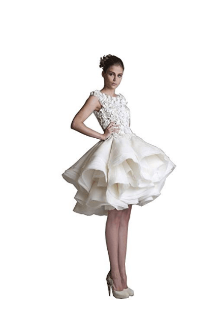 White Lace Applique Short Multi Layers Wedding Dress