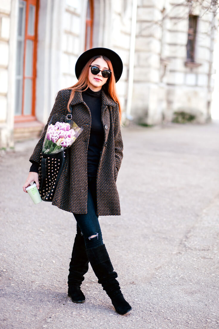 Winter Outfits | Pattern Print Long Skater Coat