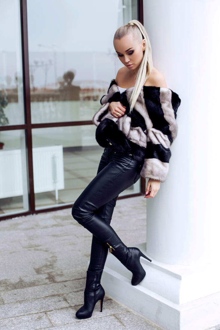 Winter Outfits | Tight Leather Pants and Leather Boots