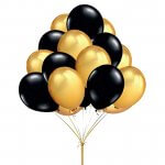 100pcs Gold Black Round Balloons