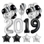 2019 Black Silver Confetti Balloons Party Kit