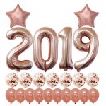 2019 Rose Gold Confetti Balloons Kit