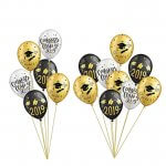 Black and Gold Graduation Party Latex Balloons Class of 2019 Party Decorations