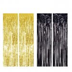 Black and Gold Metallic Tinsel Foil Fringe Curtain