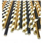 Black and Gold Paper Drinking Straws