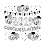 Black and Silver Congratulations 2019 Balloons Banner and Paper Flags