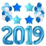 Blue 2019 Balloons Banner Decorations