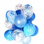 Confetti Balloons White & Blue Latex Balloons
