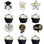 Cupcake Toppers Black and Gold Graduation Party