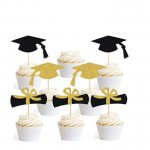 Gold and Black Cupcake Toppers