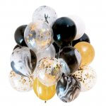 Gold and Black Mix Latex Party Decoration Marble Balloons
