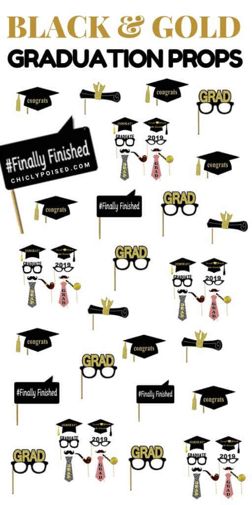 Grad Party Props Black and Gold Colors