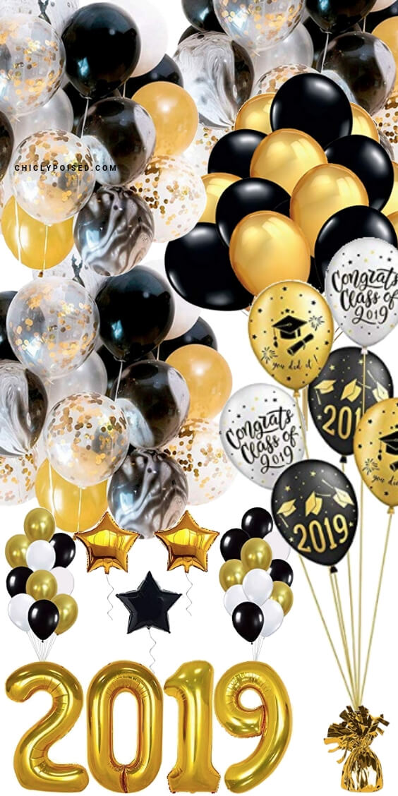 Graduation Party Balloons Black and Gold