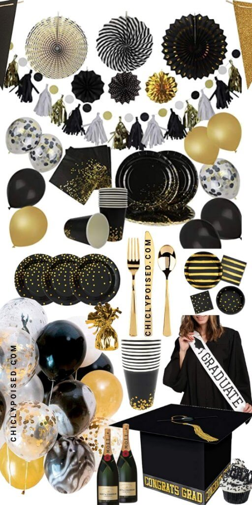 Graduation Party Black and Gold Decorations