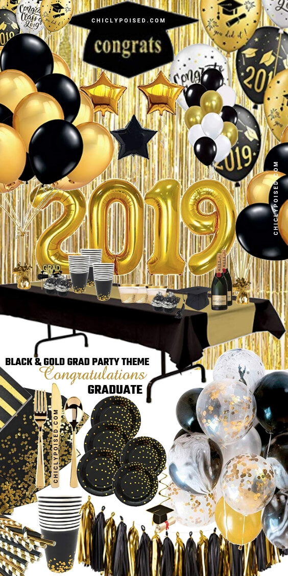Graduation Party Black and Gold Theme