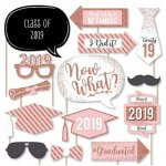 Graduation Party Photo Booth Props Kit in Rose Gold