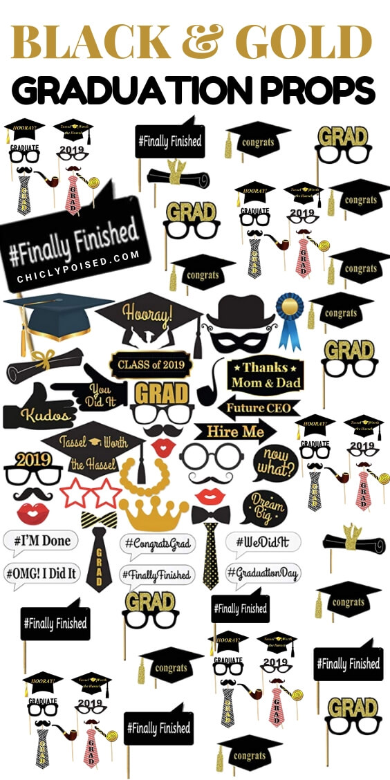 Graduation Party Props Black and Gold