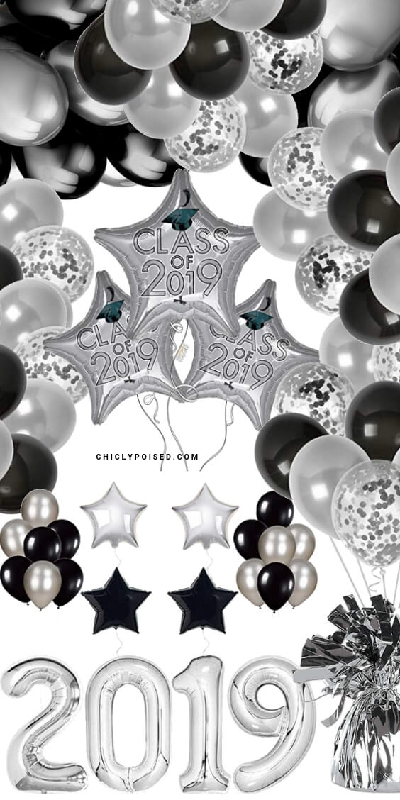 Graduation Party Silver and Black Balloons Decorations