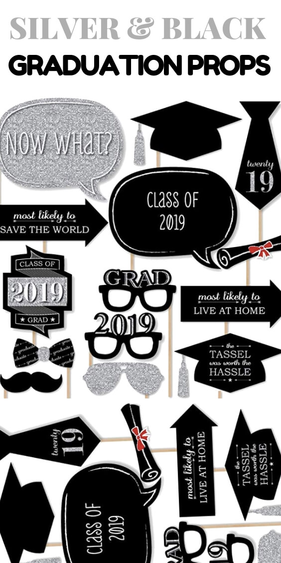 Graduation Party Silver and Black Props