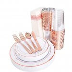 Rose Gold Plastic Plates, Cups, Silverware and Napkins