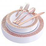 Rose Gold Plastic Plates and Silverware