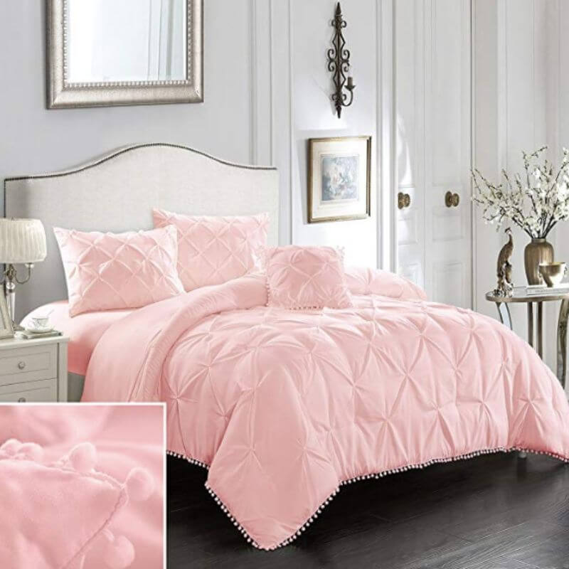 College Apartment Cozy Comforter Sets Pink-1