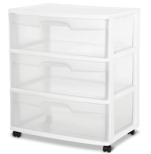 College Dorm Room Storage Ideas | Clear Sterilite Drawers