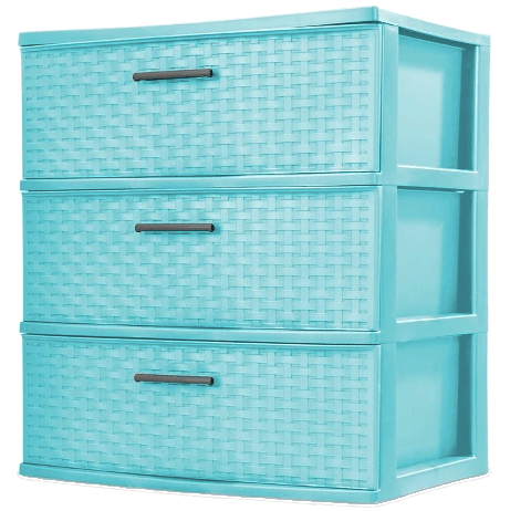 College Dorm Room Storage Ideas | Turquoise Sterilite Drawers-2
