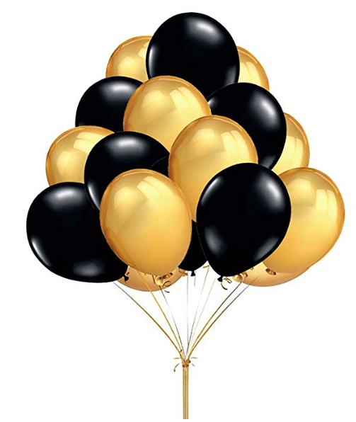 Graduation Party Ideas | Black and Gold Latex Graduation Balloons