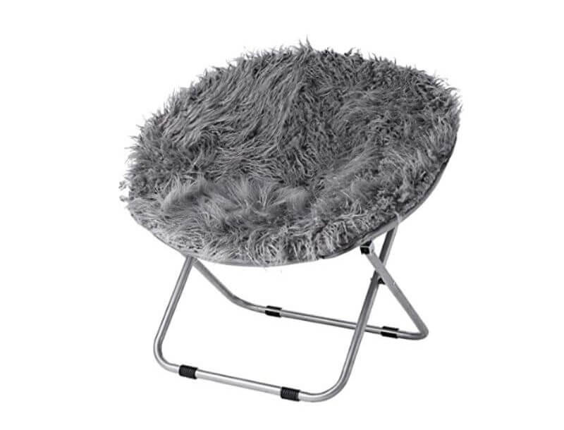 Super Cool College Dorm Room Chairs | Dark Gray Fur Moon Chair