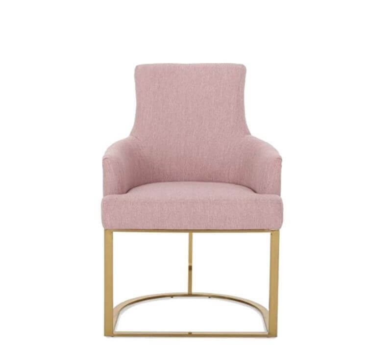 Super Cool College Dorm Room Chairs | Light Blush Modern Glam Fabric Chair