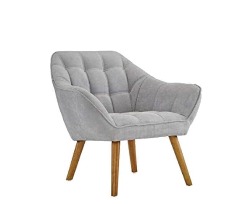 Super Cool College Dorm Room Chairs | Light Grey Linen Arm Chair with Tufted Detailing