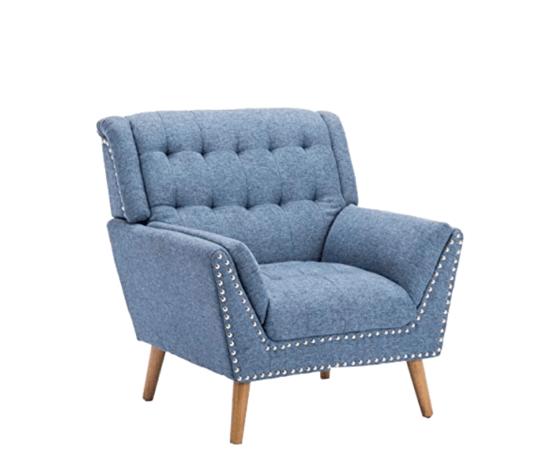 Super Cool College Dorm Room Chairs | Navy Blue Contemporary Fabric Club Chair with Nail Head Accents