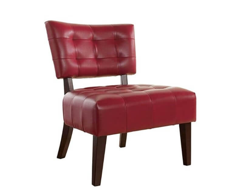 Super Cool College Dorm Room Chairs | Red Blended Leather Tufted Accent Chair with Oversized Seating