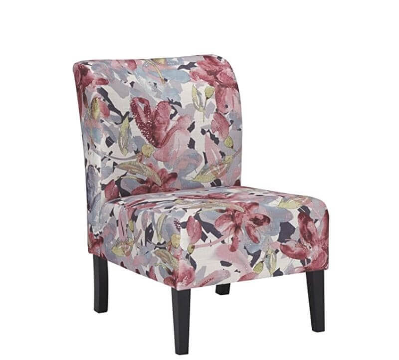 Super Cool College Dorm Room Chairs | Watercolor Floral in Plum and Charcoal Shades Contemporary Accent Chair