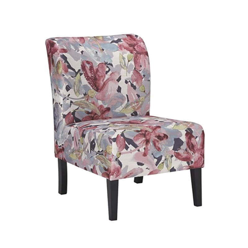 College Apartment Decorating Ideas For Your College Apartment Living Room | Watercolor Floral in Plum and Charcoal Shades Contemporary Accent Chair