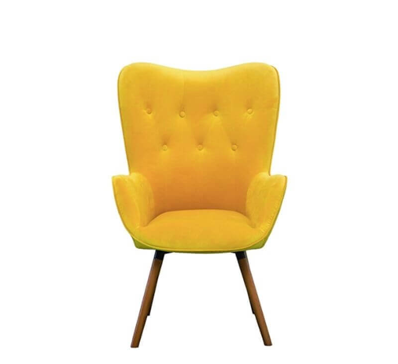 Super Cool College Dorm Room Chairs | Yellow Silky Velvet Tufted Button Accent Chair