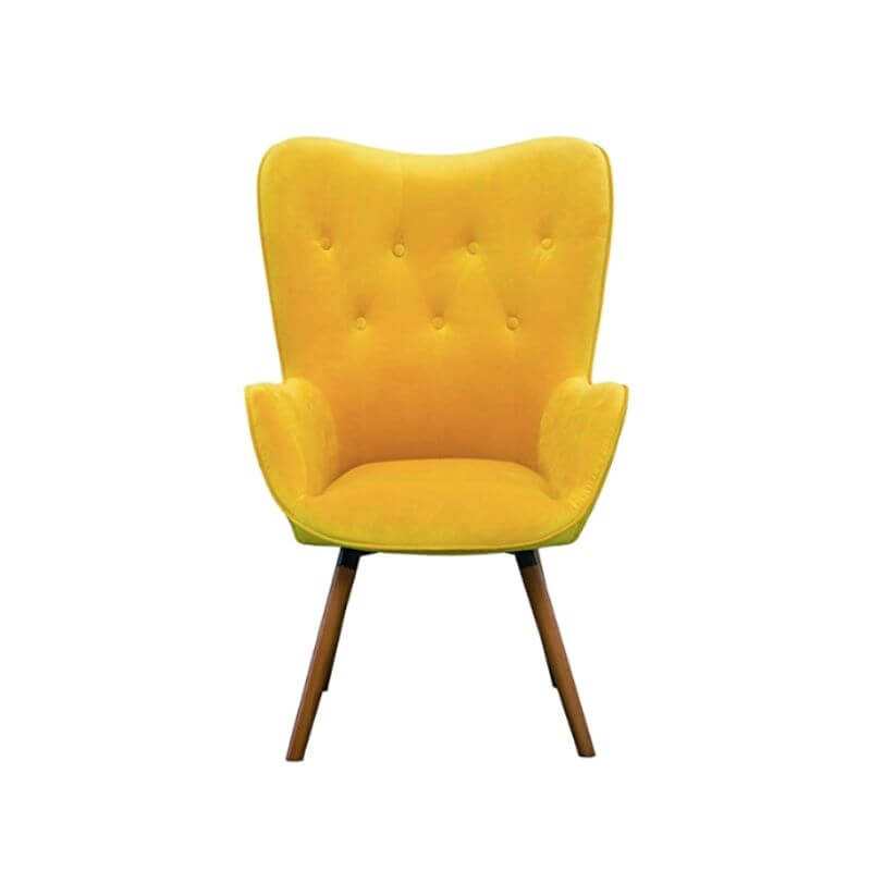 College Apartment Decorating Ideas For Your College Apartment Living Room | Yellow Silky Velvet Tufted Button Accent Chair