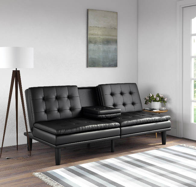College Apartment Decorating Ideas For Your College Apartment Living Room | Black Faux Leather Small Couch
