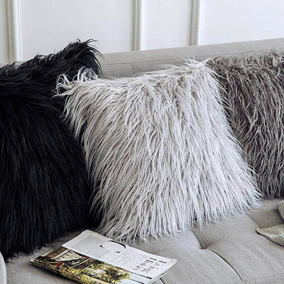 College Apartment Decorating Ideas For Your College Apartment Living Room | Soft Plush Mongolian Faux Fur Accent Throw Pillow Cover Grey
