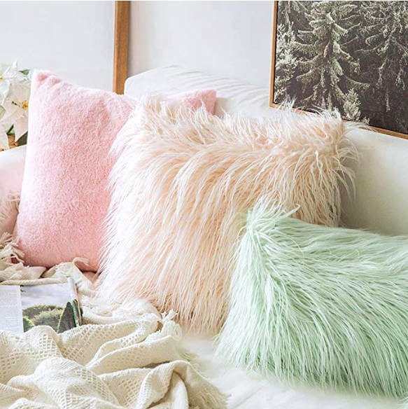 College Apartment Decorating Ideas For Your College Apartment Living Room   Soft Plush Mongolian Faux Fur Accent Throw Pillow Cover Pink