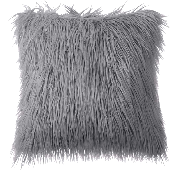 Gray Faux Fur Throw Pillows