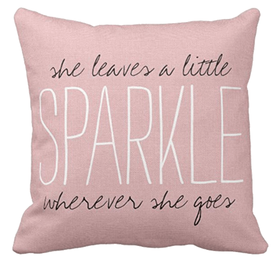 Pink Sparkle Quote Monogram Decorative Pillow Case