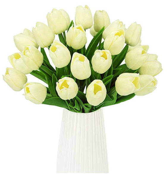 Simple DIY Fake Flower Centerpieces Materials   Pieces Fake Flower, Ivory Tulips