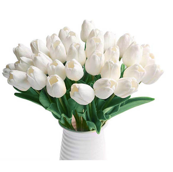Simple DIY Fake Flower Centerpieces Materials   Pieces Fake Flower, White Tulips