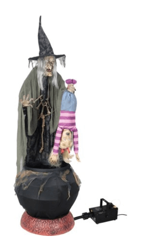 Stew Brew Witch and Child Animated Halloween Decoration