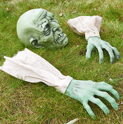 Zombie Face and Arms Lawn for Halloween Graveyard