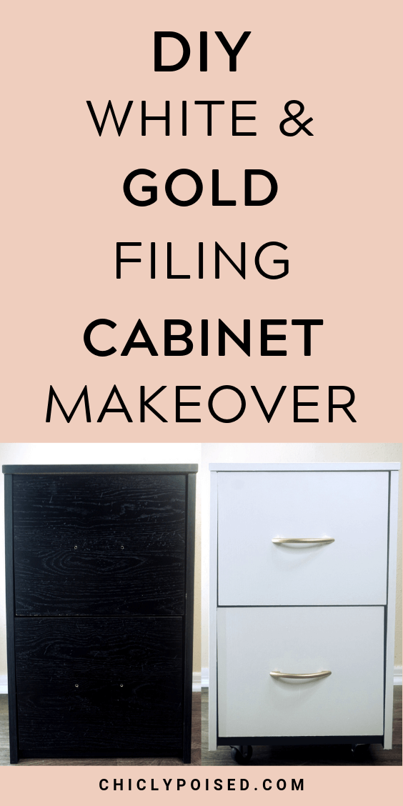 DIY Gold And White Filing Cabinet Makeover 1 OF 3